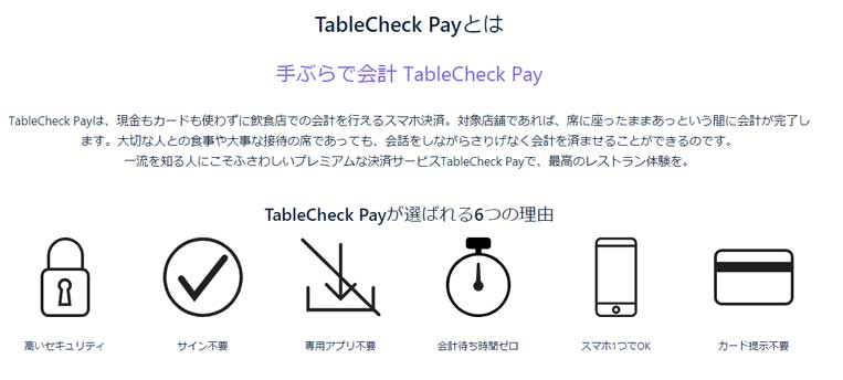 TableCheck Payでスマート会計