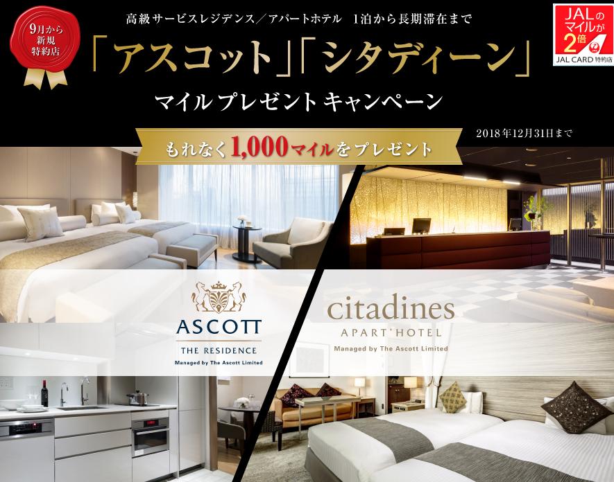 JAL「アスコット」「シタディーン」マイルプレゼントキャンペーン
