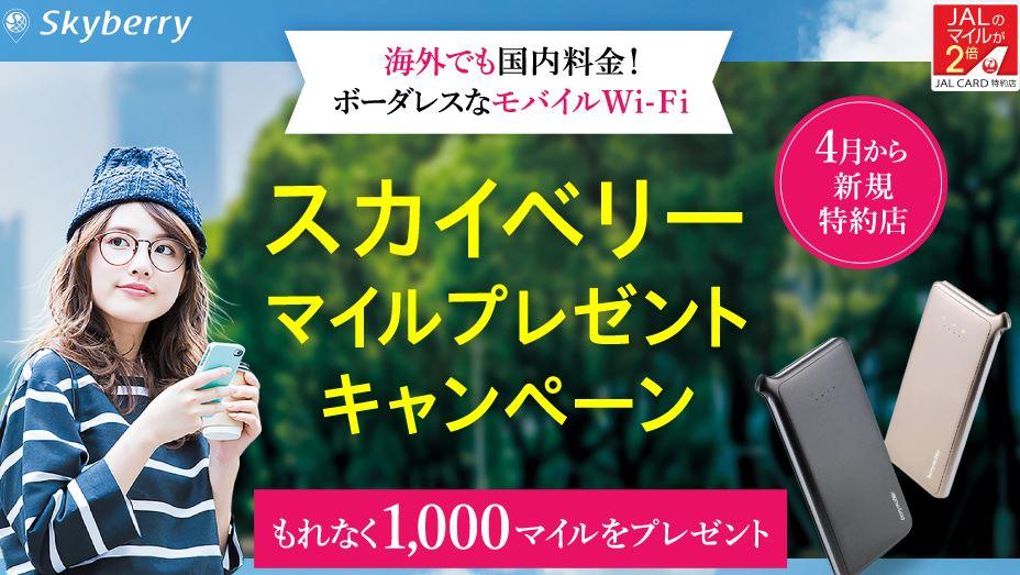 JALカード新規特約店「スカイベリー」マイルプレゼントキャンペーン