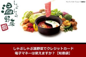 しゃぶしゃぶ温野菜でクレジットカード・電子マネーは使えますか?【知恵袋】