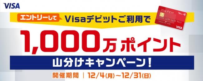 Yahoo!ショッピングおよびLOHACOでVisaデビットご利用で1,000万ポイント山分けキャンペーンを実施!