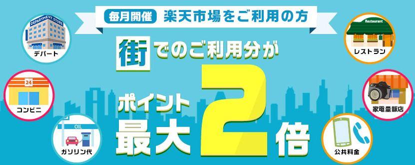 【毎月開催】楽天市場をご利用の方 街でのご利用分がポイント最大2倍!