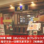 中華料理 梅蘭(ばいらん)はクレジットカード・電子マネーは使えますか?【知恵袋】