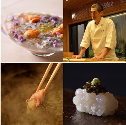「銀座 鮨青木 西麻布店」:前菜のサービス