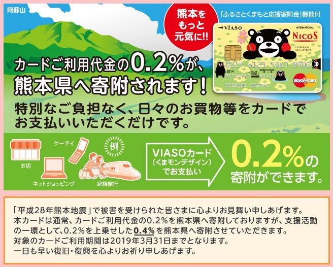VIASOカード(くまモンデザイン)利用で熊本県に寄付ができる!