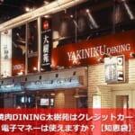 焼肉DINING太樹苑はクレジットカード・電子マネーは使えますか?【知恵袋】