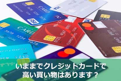 いままでクレジットカードで高い買い物はあります?