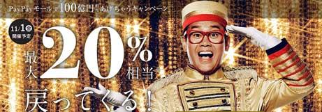 【2020年1月31日まで】PayPayモールで100憶円あげちゃうキャンペーン!最大20%還元